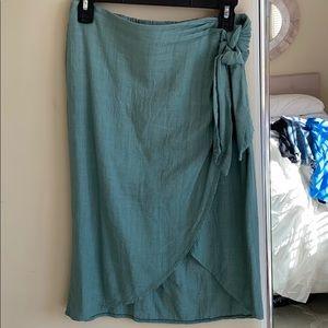 Turquoise Linen Wrap Skirt